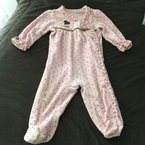 Other - Baby girl pink ruffle velvet jumpsuit.